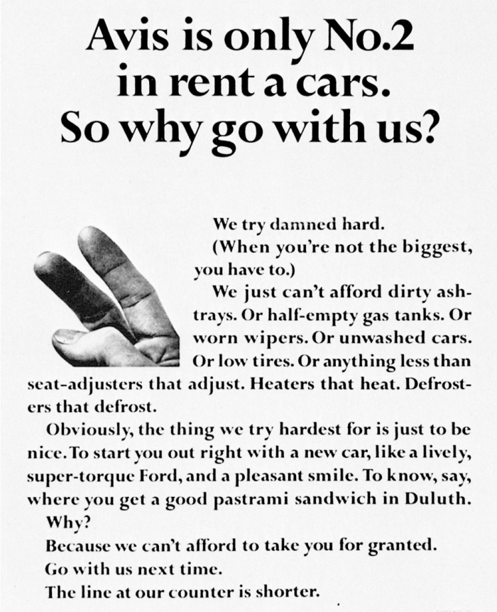 An excellent ad repositioning Avis' second place into an advantage